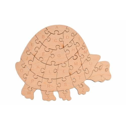 Drewniane puzzle żółwik do nauki alfabetu