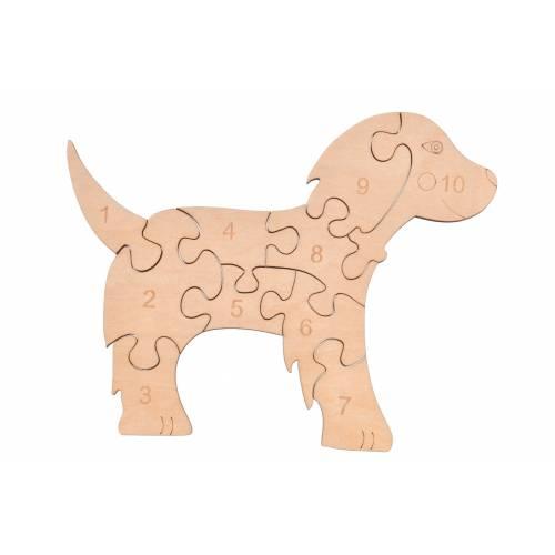 Drewniane puzzle piesek do nauki liczb / liczenia