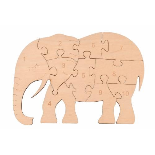 Drewniane puzzle słonik do nauki liczb / liczenia