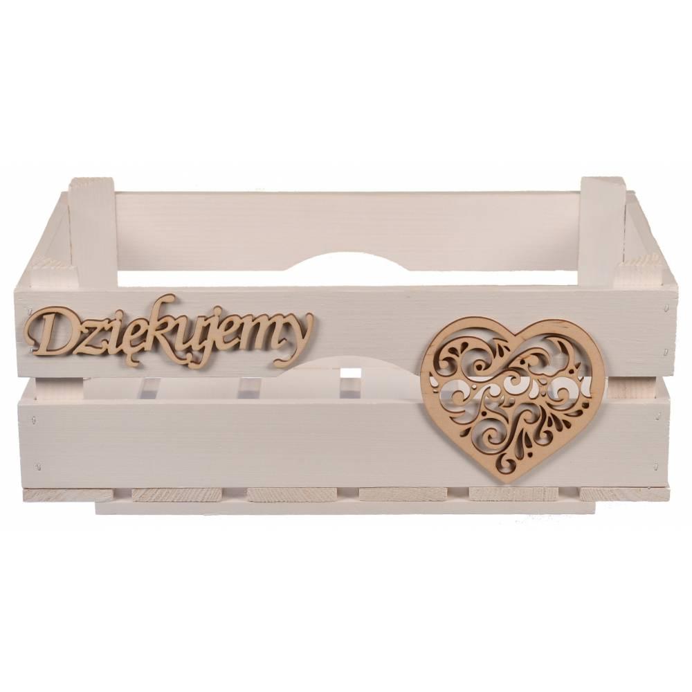 drewniana biała skrzynka z drewnianym sercem i drewnianym napisem dziękujemy