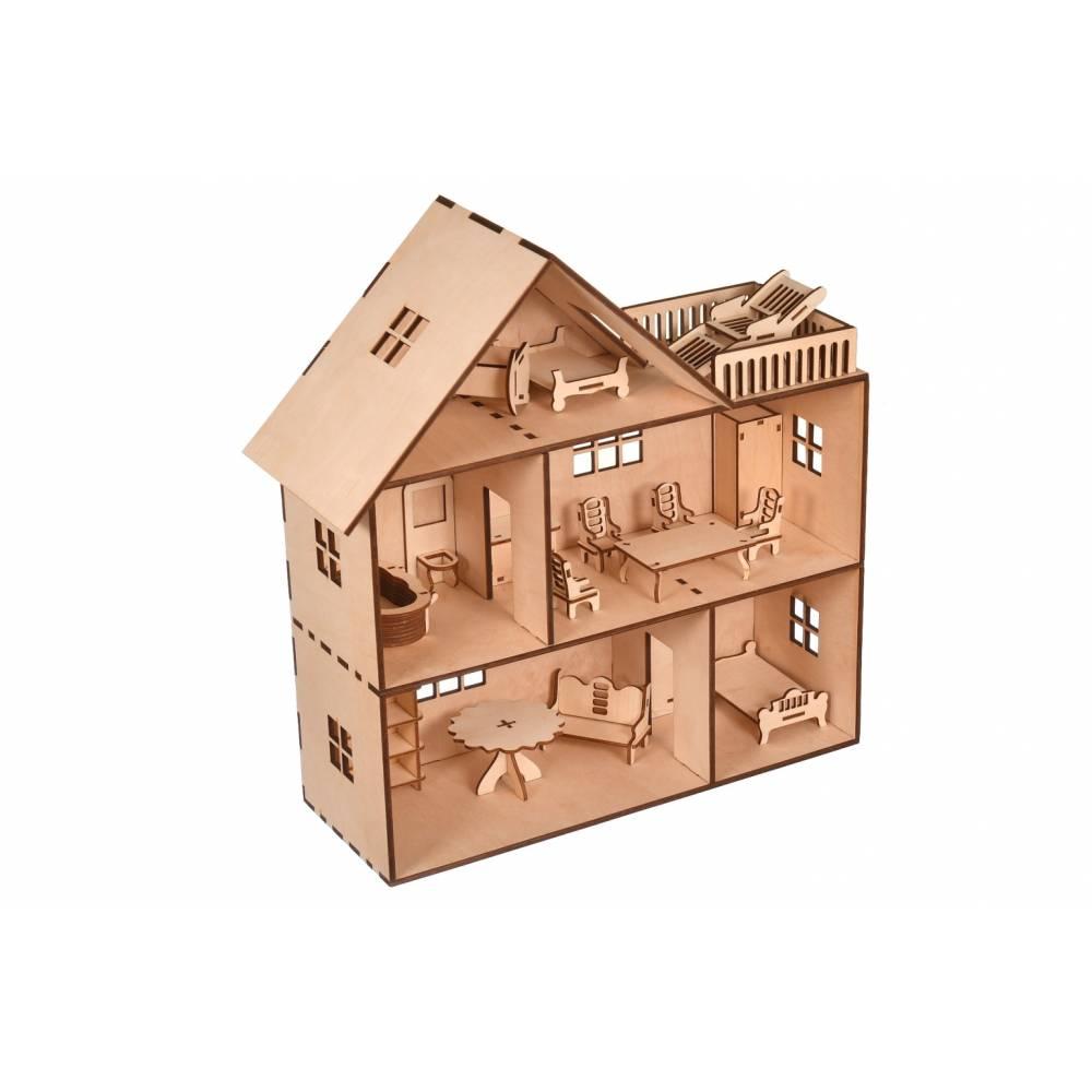drewniany domek dla lalek z kompletem mebli