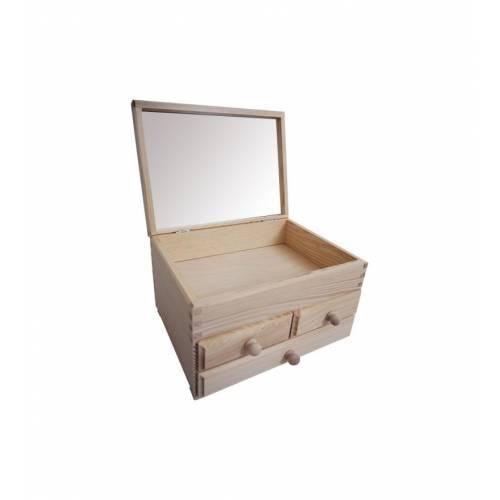 Szkatułka drewniana z lusterkiem