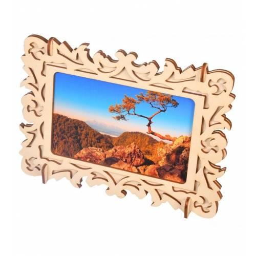 Drewniana ramka na zdjęcia dekoracyjna ażurowa