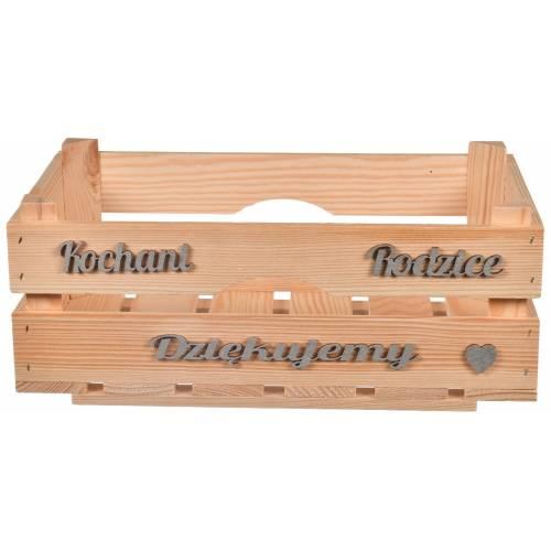"""Drewniana skrzynka """"KOCHANI RODZICE DZIĘKUJEMY"""""""