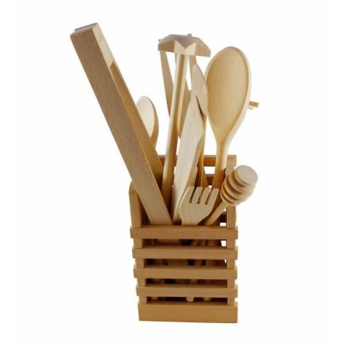 Zestaw drewnianych sztućców kuchennych