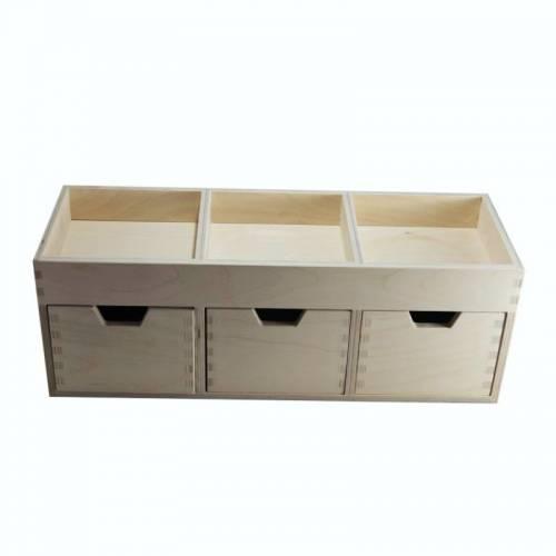 Drewniany organizer z 3 szufladami decoupage