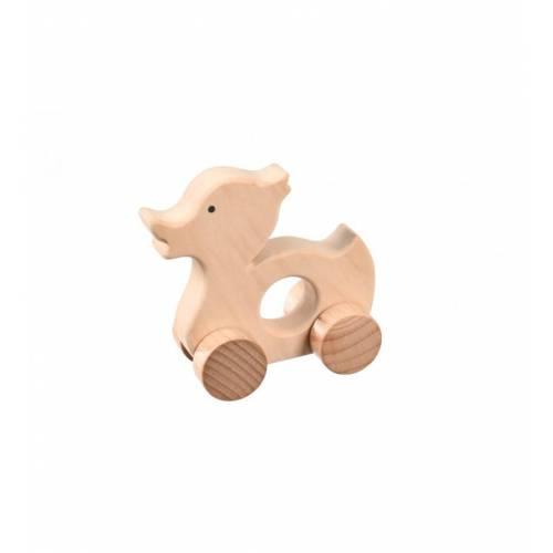 Drewniana zabawka - kaczka na kółkach