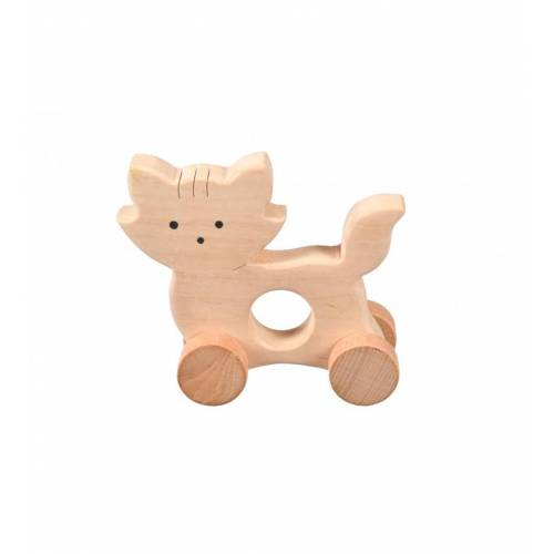 Drewniana zabawka - kotek na kółkach