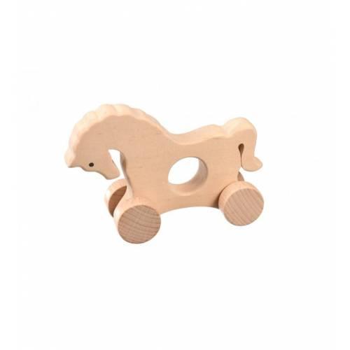 Drewniana zabawka - konik na kółkach