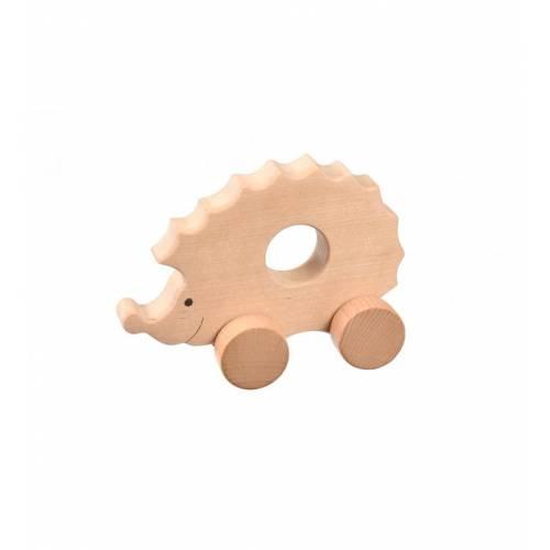 Drewniana zabawka - jeżyk na kółkach