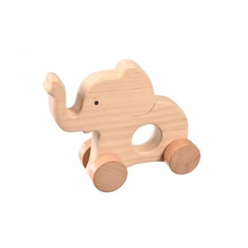 Drewniana ozdoba słonik na kółkach