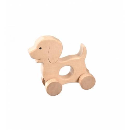 Drewniana zabawka - piesek na kółkach