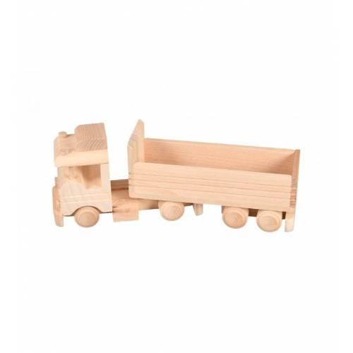Drewniana zabawka - ciężarówka z przyczepką