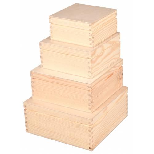Zestaw 4 szt pudełek kwadratowych