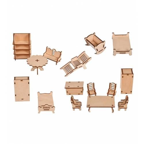 Komplet mebli drewnianych do domku dla lalek