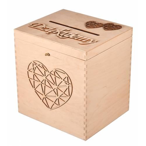 Drewniane pudełko na życzenia ślubne