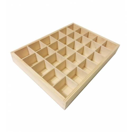 Pudełko drewniane prostokątne 30-ści przegród na herbatę