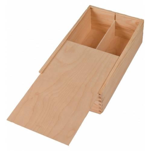 Drewniane pudełko z dwoma przegrodami na wino + sznurek