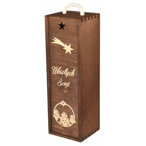 Drewniane pudełko na wino z gwiazdą