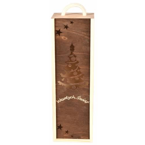 Drewniane pudełko na wino Święta