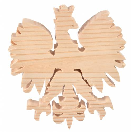 Drewniana figurka Orła Białego z koroną