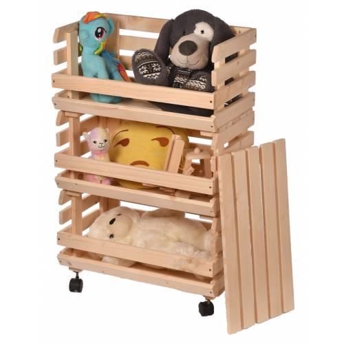 Skrzynia regał drewniany na zabawki eko