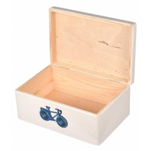 Białe pudełko drewniane na zabawki