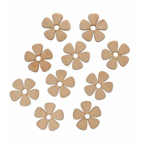 Scrapki drewniane kwiaty komplet 10szt
