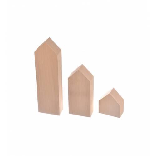 Drewniane domki styl skandynawski zestaw 3szt