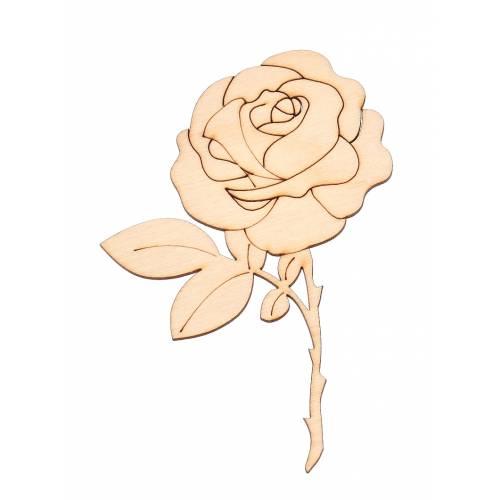 Drewniana ozdoba róża do decoupage
