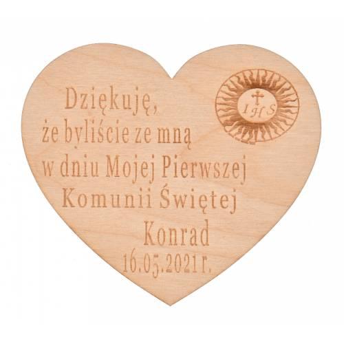 Drewniane serce z grawerem podziękowanie dla gości Komunia