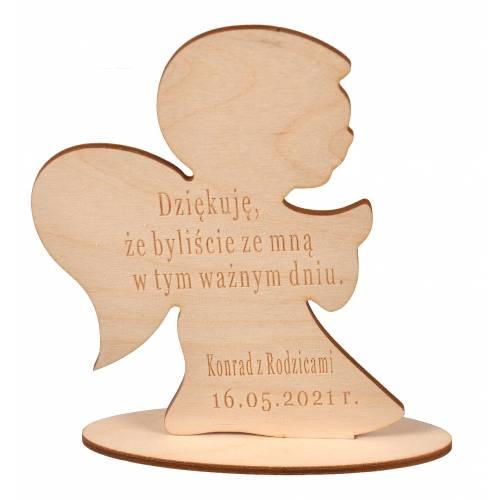 Aniołek drewniany z grawerem podziękowanie dla gości Komunia