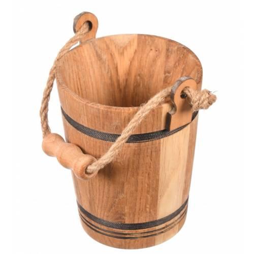 Drewniane wiaderko + sznurek uchwyt ozdoba cebrzyk 17cm