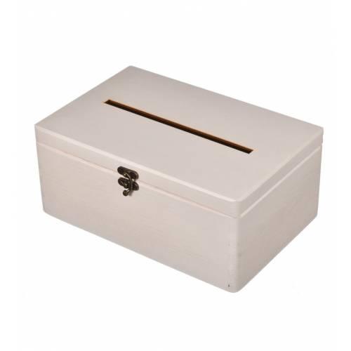 Drewniane pudełko na koperty białe