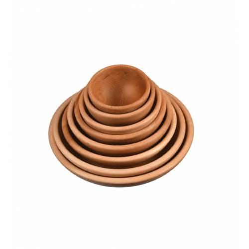 komplet drewnianych okrągłych miseczek