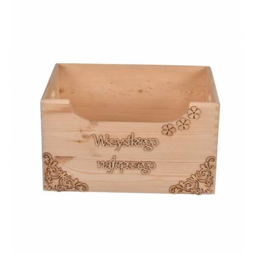 Drewniana skrzynka na prezent, ślub do restauracji