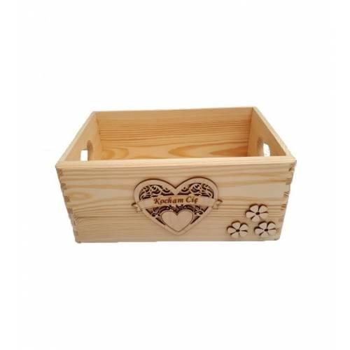 Skrzynka drewniana z sercem WALENTYNKI prezent