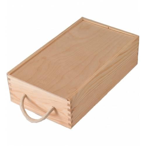 Drewniana skrzynka z przegrodą na 2 wina ze sznurkiem