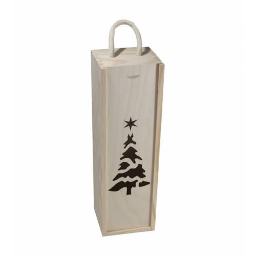 Drewniane pudełko na wino z choinką świąteczne+sznurek