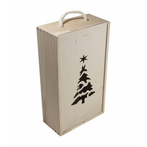Drewniane pudełko na dwa wina z choinką świąteczne+sznurek