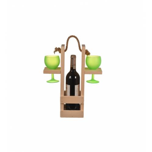 Skrzynka na wino z uchwytem + dwa kieliszki