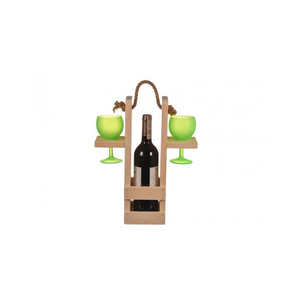 wino w skrzynce na wino i dwa kieliszki w uchwytach