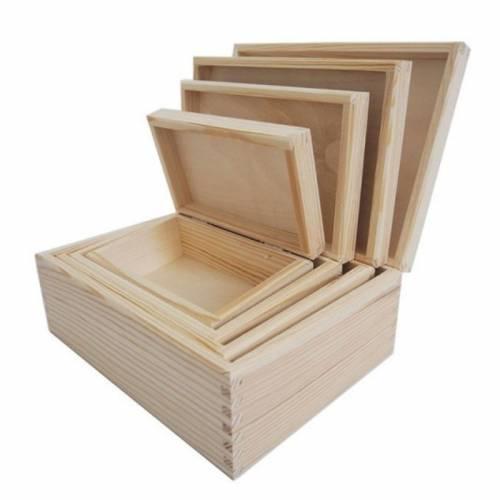 Komplet drewnianych pudełek do decoupage