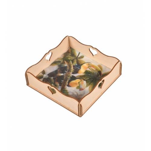 Chustecznik kwadratowy dekoracyjny ze sklejki zdobienie serduszka