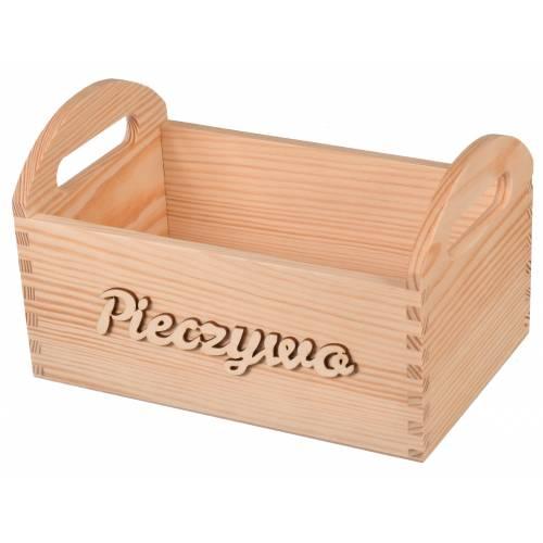 Drewniany pojemnik na pieczywo z napisem
