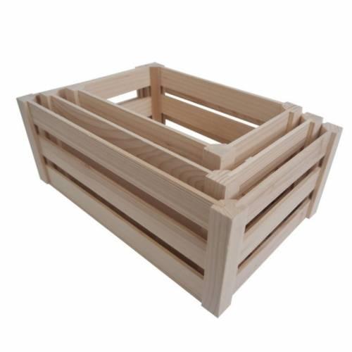Zestaw drewnianych skrzynek na warzywa i owoce