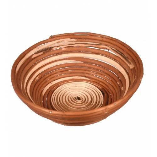 Drewniany koszyk wiklinowy na pieczywo okrągły śr.25cm