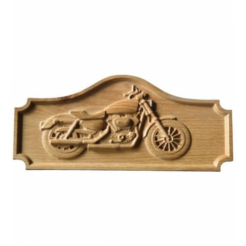 Płaskorzeźba na drewnie naturalnym MOTOCYKL