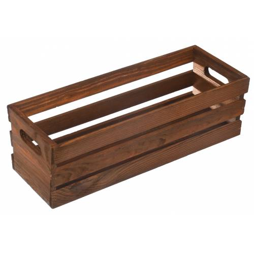 Drewniana skrzynka brązowa prostokątna do ogrodu na taras 37,5cm