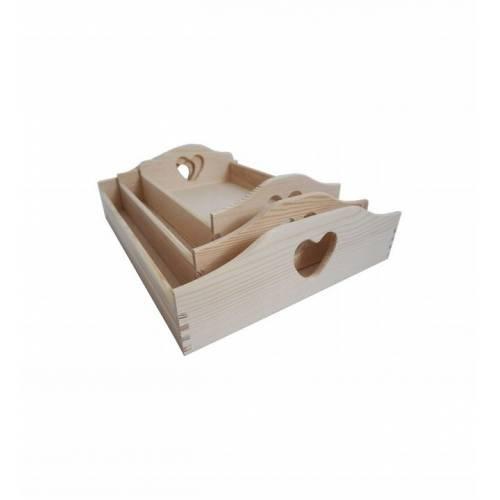 Komplet tac drewnianych serce naturalne drewno 3szt